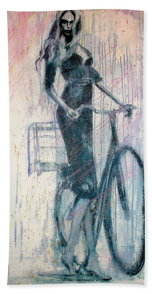 Portrait Art Hand Towel featuring the painting The She Wolf by Jarmo Korhonen aka Jarko