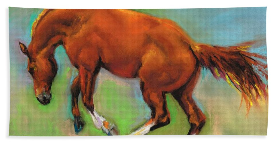 Horses Bath Sheet featuring the painting The Sheer Joy Of It by Frances Marino