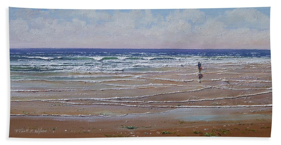 Seascape Bath Sheet featuring the painting The Shell Collector by Frank Wilson