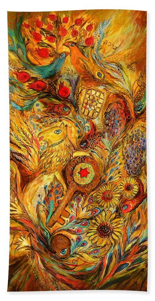 Original Hand Towel featuring the painting The Shining Of Gold by Elena Kotliarker