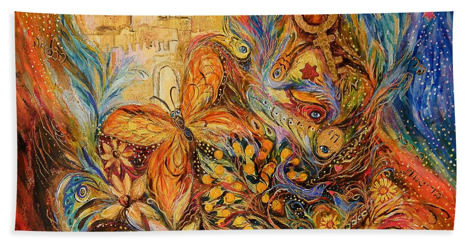 Original Bath Sheet featuring the painting The Shining Of Jerusalem by Elena Kotliarker