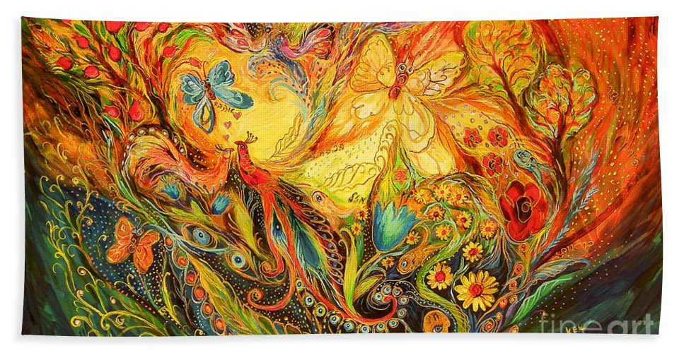 Original Bath Sheet featuring the painting The Shining Of The Summer by Elena Kotliarker