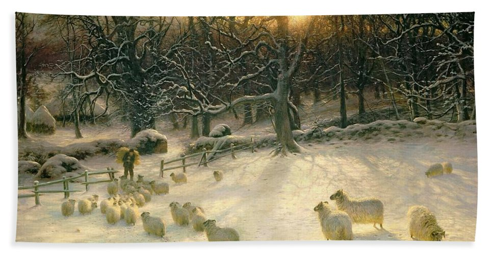 Winter Hand Towel featuring the painting The Shortening Winters Day Is Near A Close by Joseph Farquharson