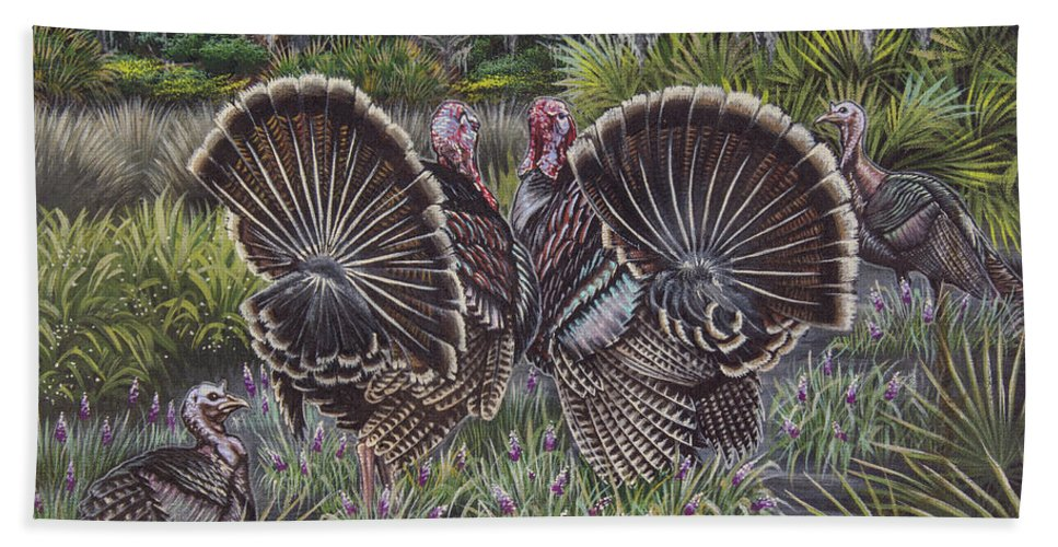 Hunting Hand Towel featuring the painting The Showoffs by Monica Turner