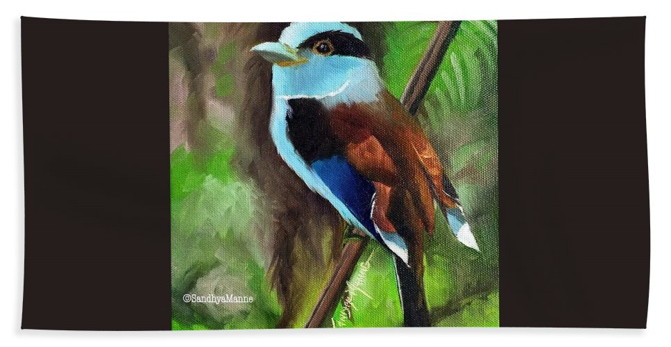 Wildlife Hand Towel featuring the painting The Silver Breasted Broadbill by Sandhya Manne