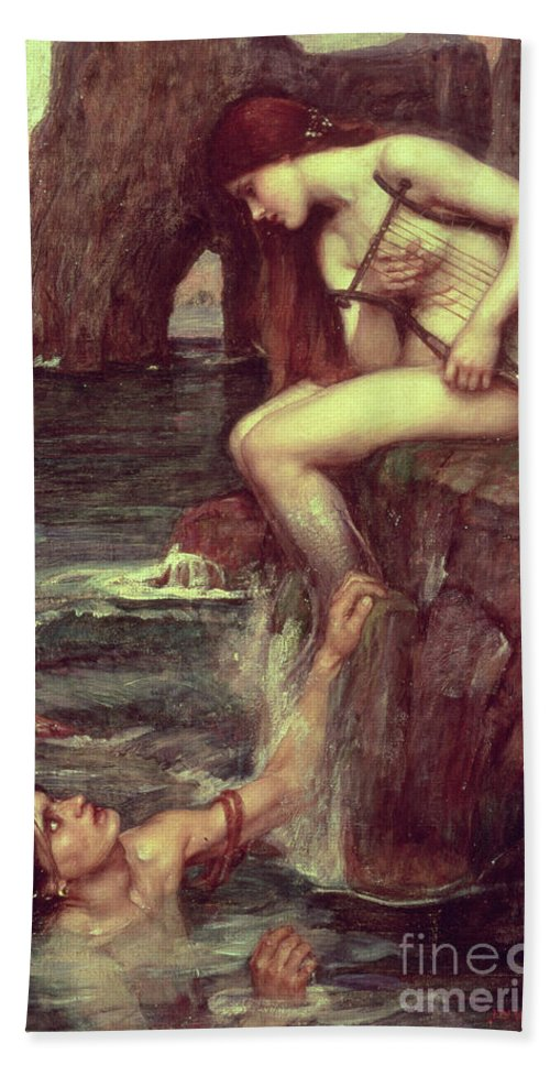 The Siren Bath Towel featuring the painting The Siren by John William Waterhouse