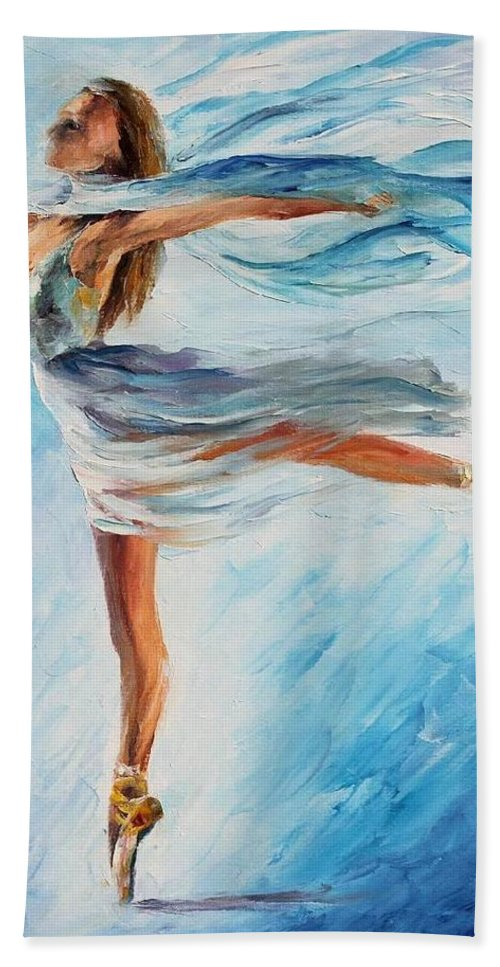Afremov Bath Towel featuring the painting The Sky Dance by Leonid Afremov