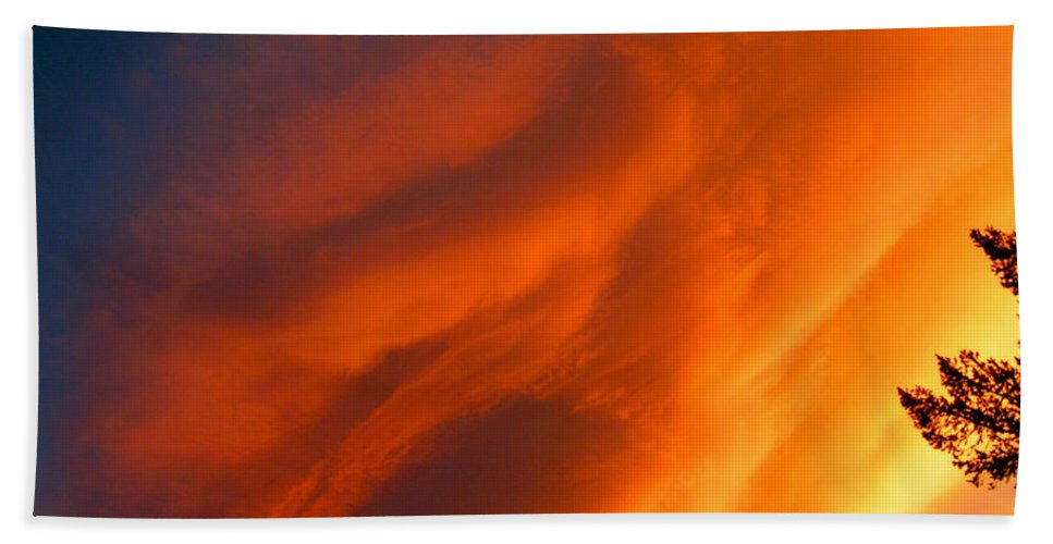 Sunset Sunrise Big Sky Colorado Clouds Colorful Hand Towel featuring the photograph The Sky Is Burning by George Tuffy