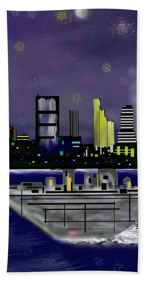 Cityscapes Bath Towel featuring the digital art The Sky Is The Limit by Abel Padilla
