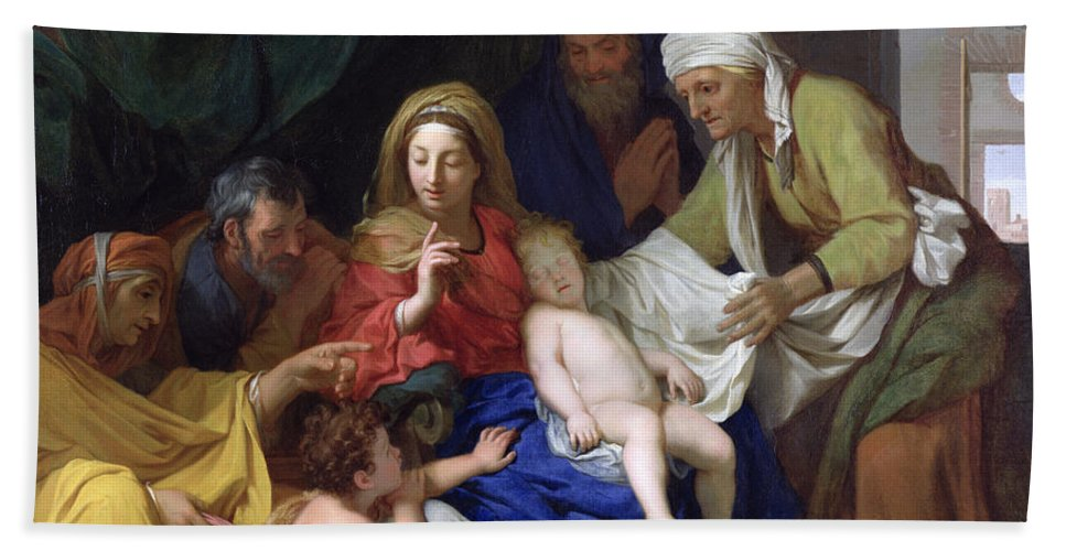 The Sleeping Christ Hand Towel featuring the painting The Sleeping Christ by Charles Le Brun