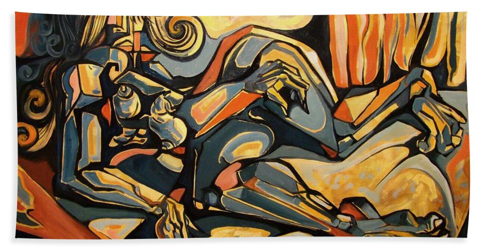Surrealism Bath Sheet featuring the painting The Sleeping Muse by Darwin Leon