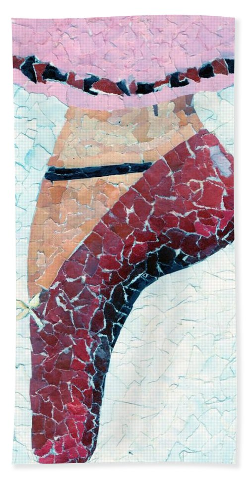 Ballet Hand Towel featuring the mixed media The Slipper by Tina Partridge