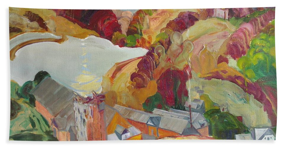 Oil Hand Towel featuring the painting The Slovechansk Edge by Sergey Ignatenko