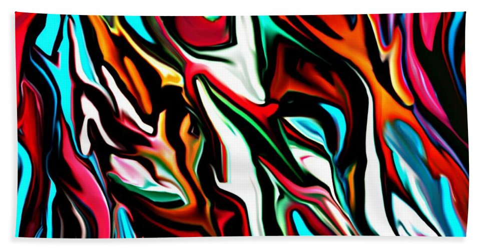 Abstract Hand Towel featuring the digital art The Smearing Of The Paint 7-02-09 by David Lane