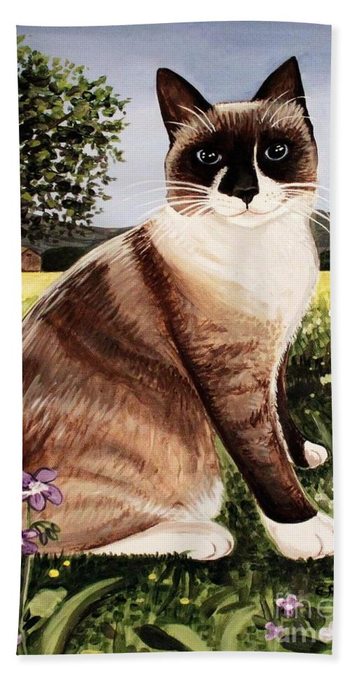 Pet Portrait Bath Sheet featuring the painting The Snowshoe Cat by Elizabeth Robinette Tyndall