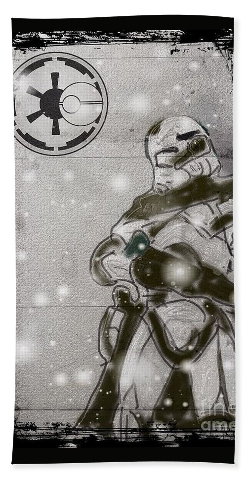 Snowtrooper Hand Towel featuring the drawing The Snowtrooper by Helge