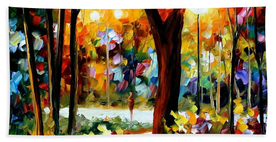 Afremov Bath Sheet featuring the painting The Soul Of Night by Leonid Afremov