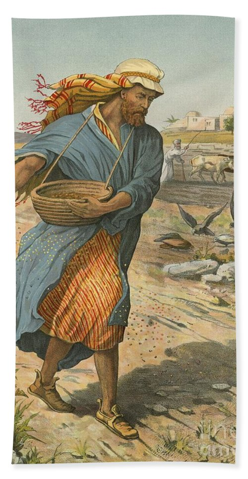 Bible; Children's; Jesus Christ; Seed; Sower; Parable Bath Sheet featuring the painting The Sower Sowing The Seed by English School