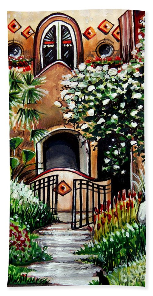 Gardens Bath Sheet featuring the painting The Spanish Gardens by Elizabeth Robinette Tyndall