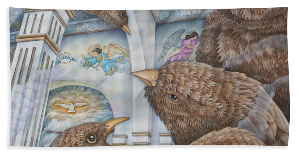 Birds Bath Sheet featuring the painting The Sparrows Of San Elizario by Jeniffer Stapher-Thomas
