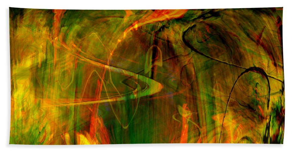 Abstract Digital Abstract Digital Painting Digital Art Design Dark Art Vibrant Art Yellow Bath Towel featuring the digital art The Spirit Glows by Linda Sannuti