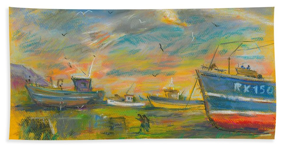 Pastel Bath Sheet featuring the pastel The Spirit Of Hastings by Sveatoslav Zacon
