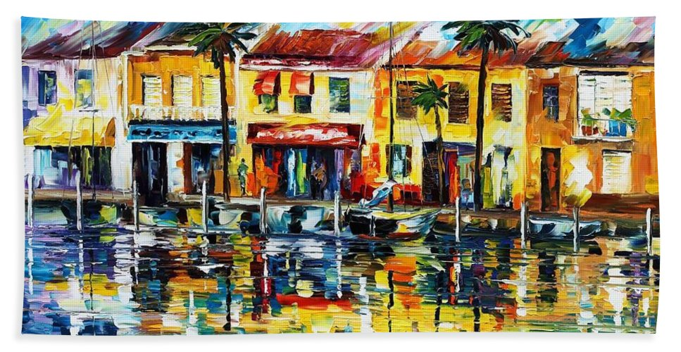 Afremov Hand Towel featuring the painting The Spirit Of Miami by Leonid Afremov