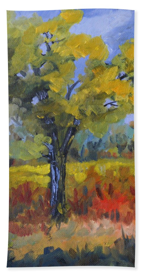 Spring Hand Towel featuring the painting The Spring Tree by Heather Coen