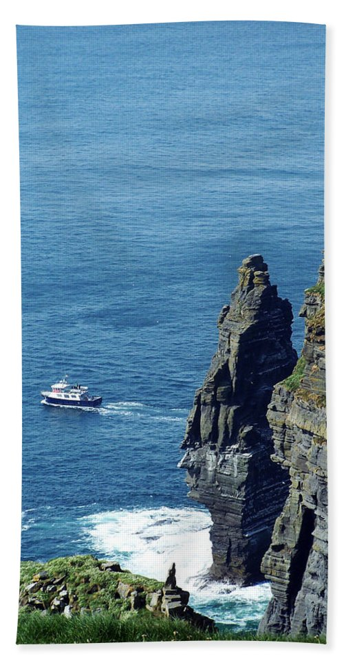 Irish Bath Sheet featuring the photograph The Stack And The Jack B Cliffs Of Moher Ireland by Teresa Mucha