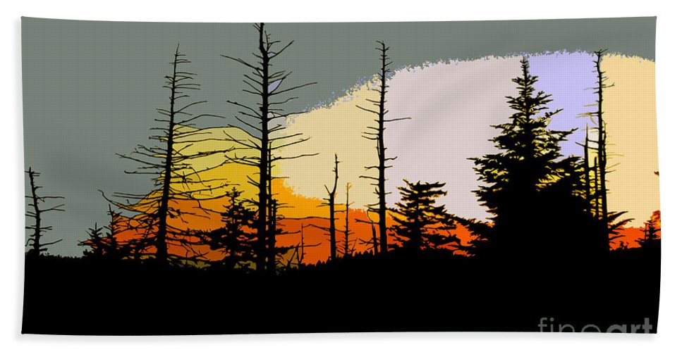 Forest Bath Towel featuring the painting The Stained Glass Forest by David Lee Thompson