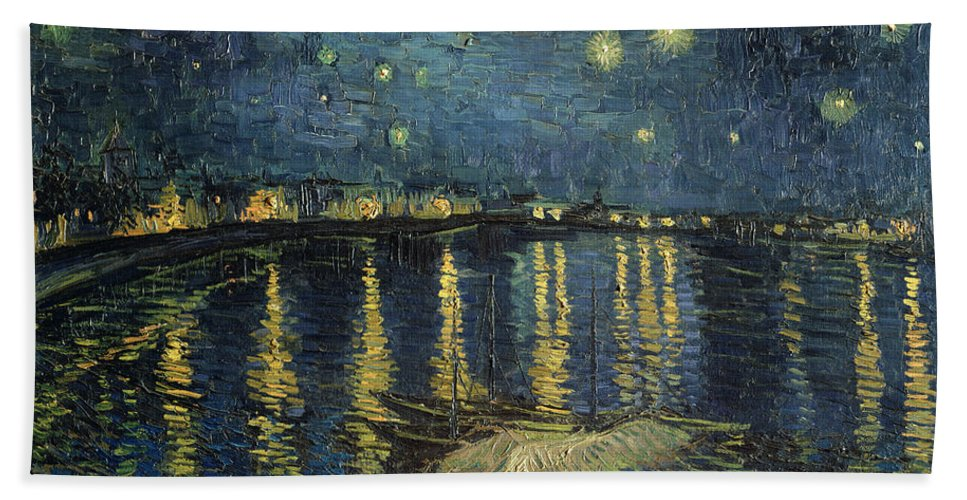 The Bath Towel featuring the painting The Starry Night by Vincent Van Gogh