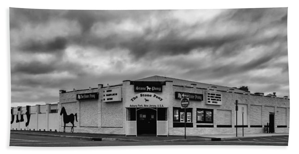 Terry D Photography Hand Towel featuring the photograph The Stone Pony Asbury Park New Jersey Black and White by Terry DeLuco