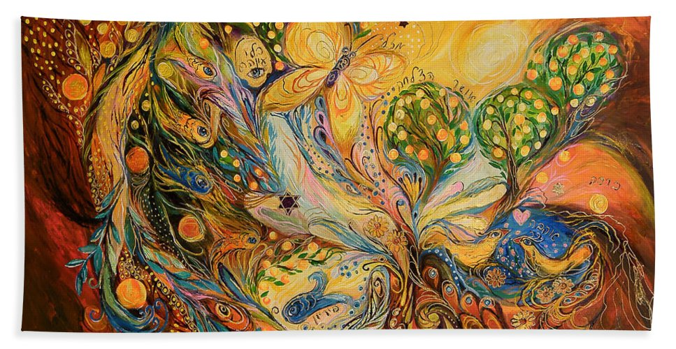 Original Bath Sheet featuring the painting The Story Of The Orange Garden by Elena Kotliarker