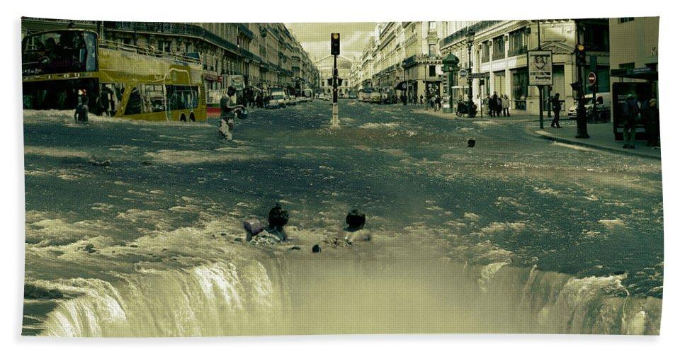 Street Bath Sheet featuring the digital art The Street Fall by Marian Voicu