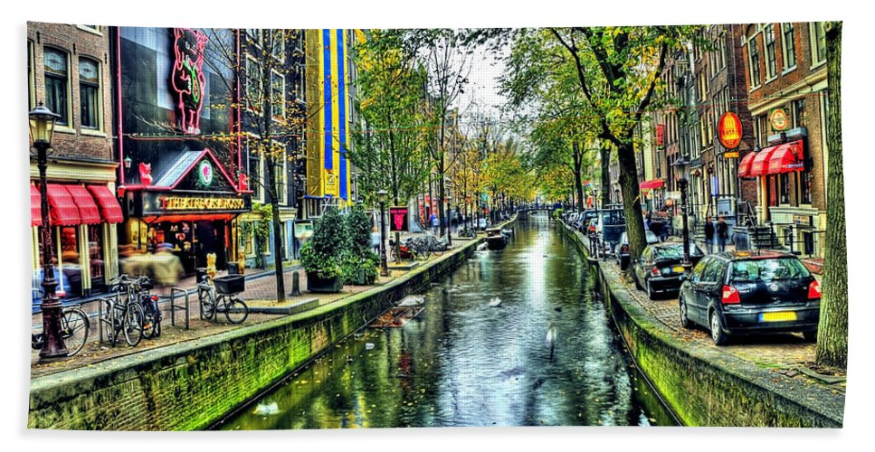 Amsterdam Bath Sheet featuring the photograph The Street by Svetlana Sewell