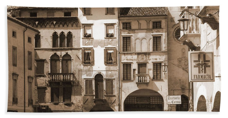 Landscape Bath Sheet featuring the photograph The Streets Of Vittorio Veneto by Donna Corless