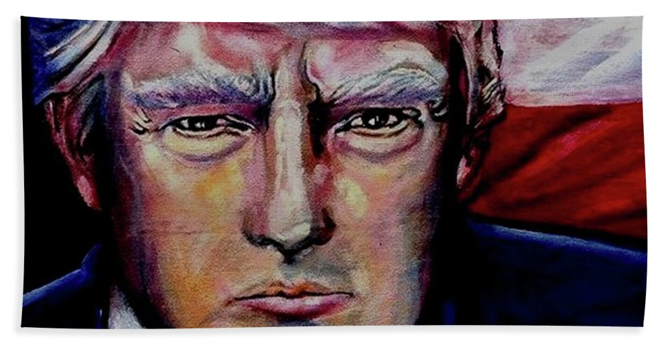 President.patriot Bath Sheet featuring the painting The Strength Of President Donald J Trump by Misty Smith
