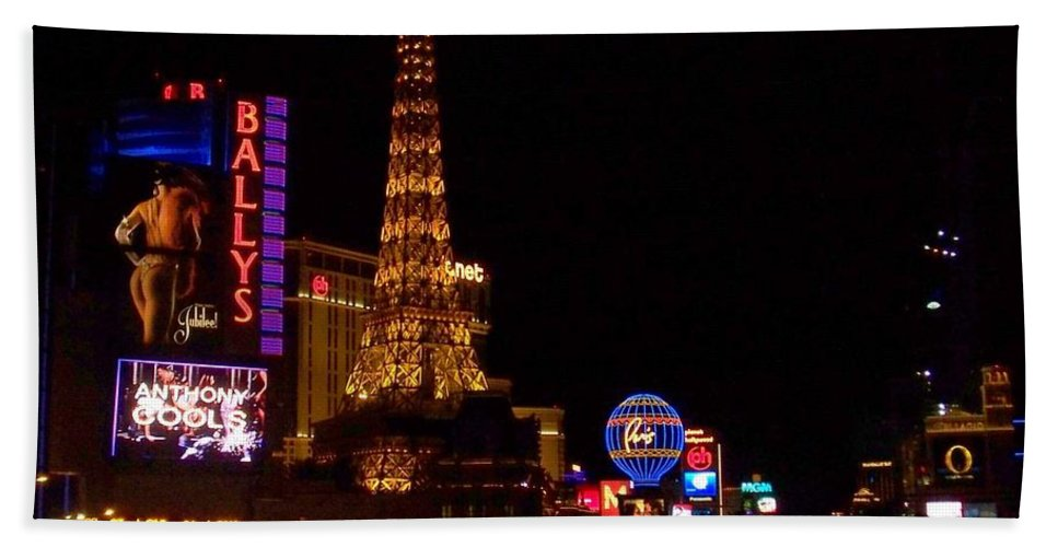 Vegas Hand Towel featuring the photograph The Strip At Night 1 by Anita Burgermeister
