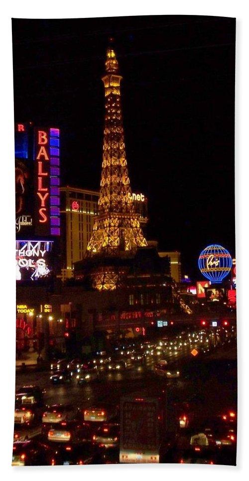 Vegas Bath Sheet featuring the photograph The Strip At Night 2 by Anita Burgermeister
