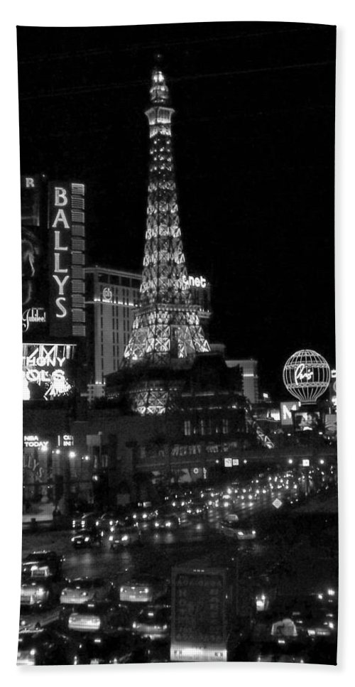 Las Vegas Strip Hand Towel featuring the photograph The Strip By Night B-w by Anita Burgermeister