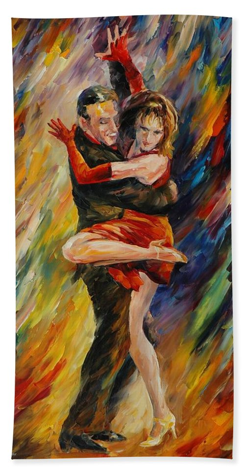 Dance Bath Towel featuring the painting The Sublime Tango by Leonid Afremov