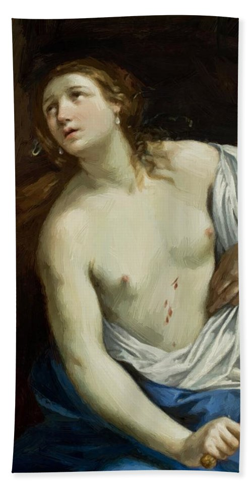 The Hand Towel featuring the painting The Suicide Of Lucretia 1640 by Reni Guido