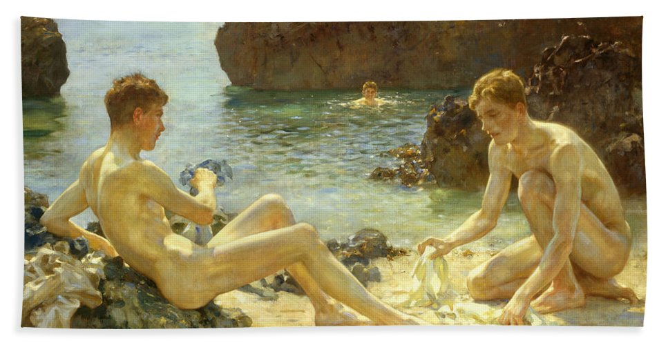 Nude Hand Towel featuring the painting The Sun Bathers by Henry Scott Tuke
