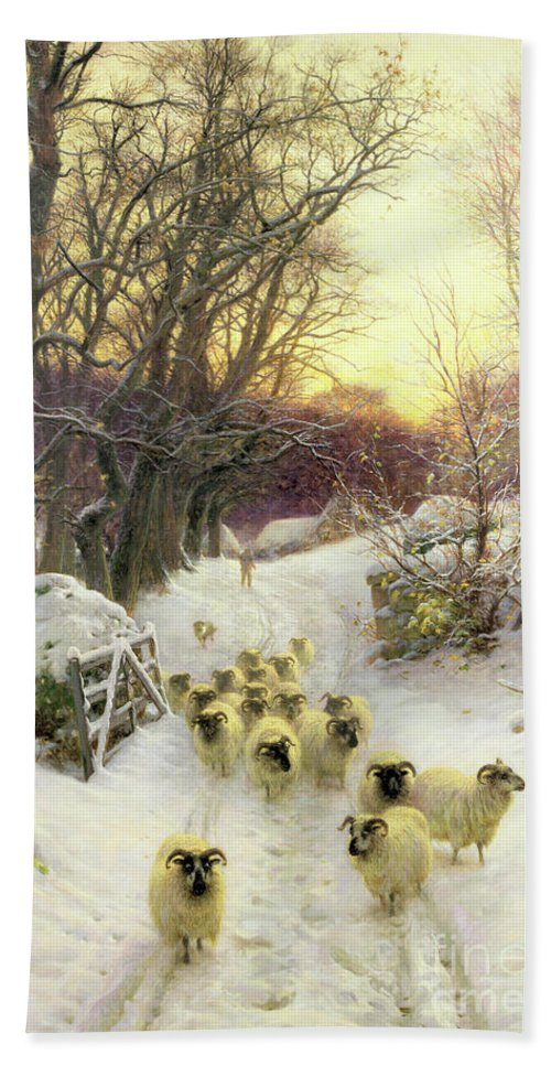 Sunset Bath Towel featuring the painting The Sun Had Closed the Winter's Day by Joseph Farquharson