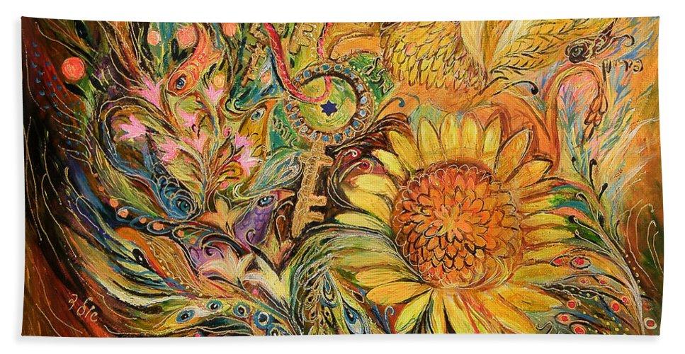 Original Bath Sheet featuring the painting The Sunflower by Elena Kotliarker