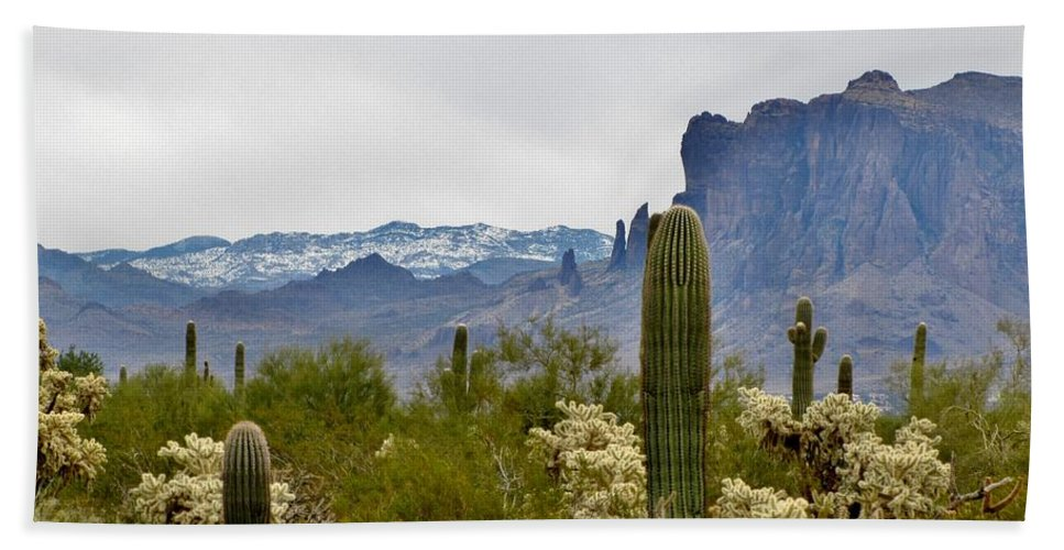 Desert Hand Towel featuring the photograph The Superstitions Landscape by Marilyn Smith
