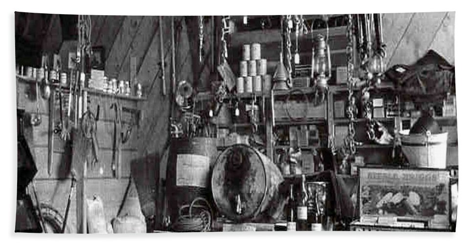 Classic Black And White Old Photo Pioneers Old Days 1900s Old Store Supplies Hardware Bath Sheet featuring the photograph The Supply Store by Andrea Lawrence