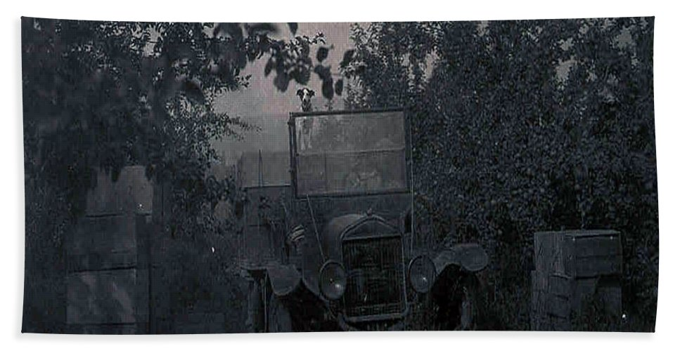 Old Photo Black And White Classic Saskatchewan Pioneers History Old Jeep Truck Bath Sheet featuring the photograph The Supply Truck by Andrea Lawrence