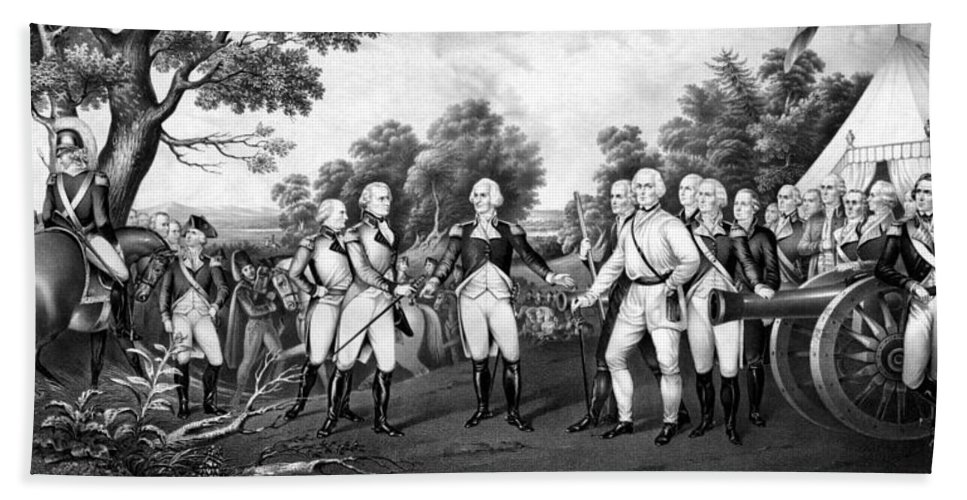 Revolutionary War Bath Sheet featuring the painting The Surrender Of General Burgoyne by War Is Hell Store