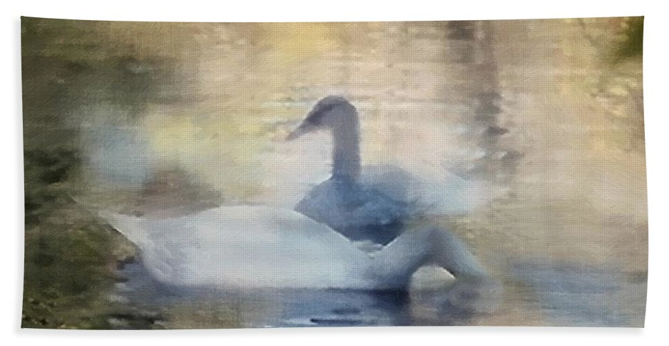 Pond Bath Sheet featuring the painting The Swans by RC DeWinter